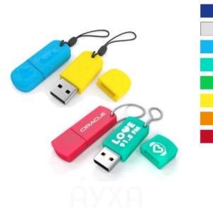 Силиконовая флешка с креплением для резинки/цепочки в разных цветах с возможностью нанесения своей надписи/логотипа/слов