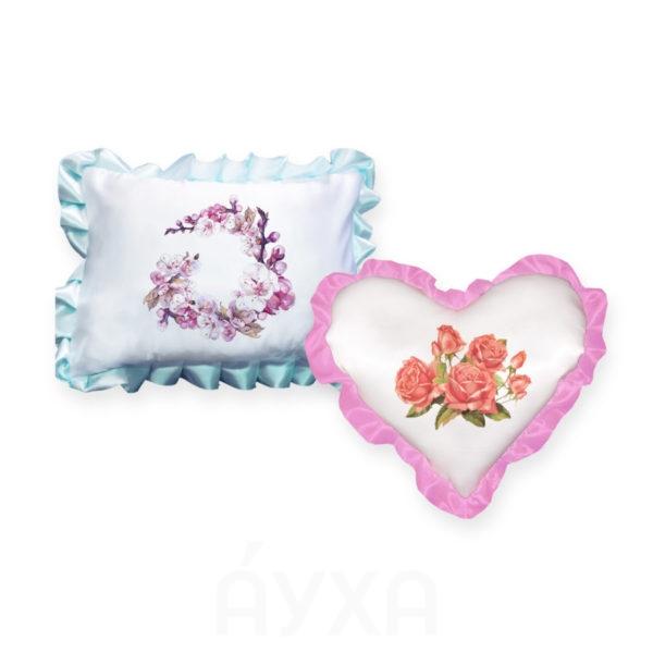 Изображение/фото/картинка из интернета на подушке с рюшами. Выбрать нанесение на подушку. Эскиз на наволочку подушки.
