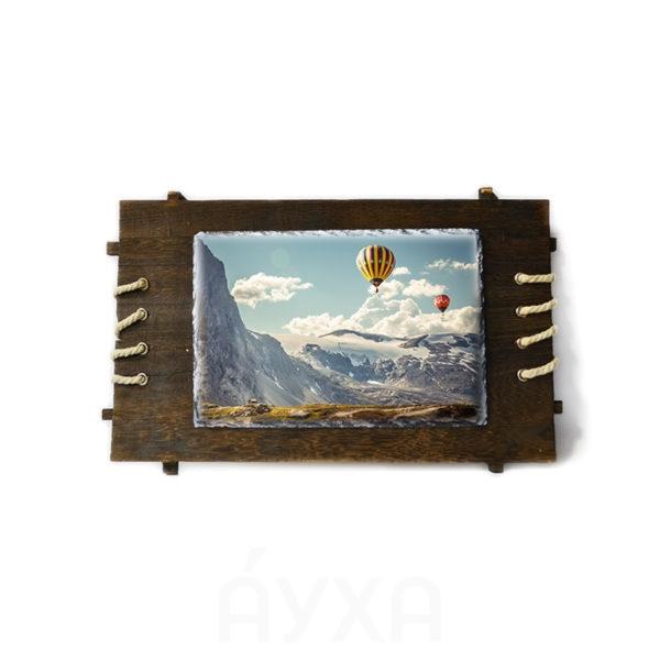 Моя фотография на камне в деревянной рамке. Печать/нанесение изображения/фото/картинки на камень в деревянной рамке