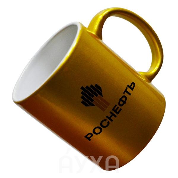 Заказать/купить кружку золотой/серебряной расцветки с возможностью нанесения/печати/изображения своей картинки/принта в Хабаровске