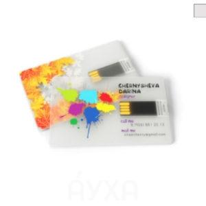 Прозрачная визитка-флешка. Печать фотографии/имени/фамилии/картинки/логотипа компании на флешке, по размеру похожей на визитку.